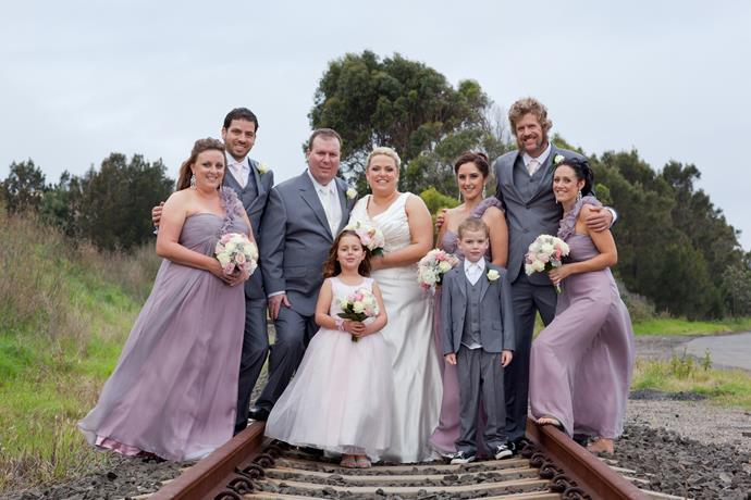 The bridal party were all smiles on their big day