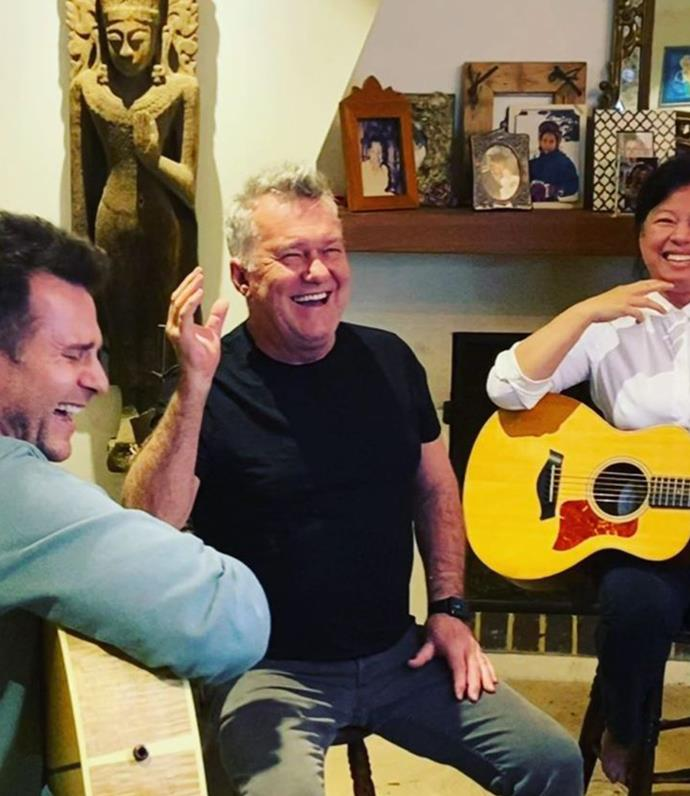 David and Jimmy making music together.