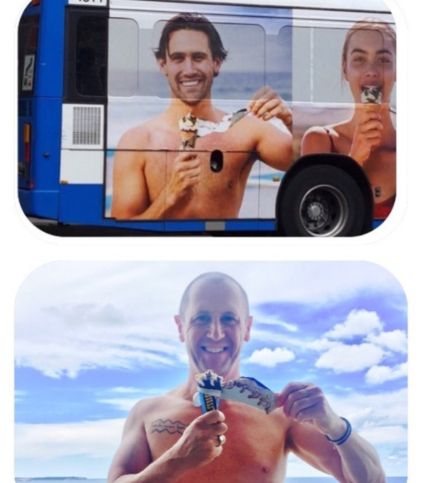 Larry shared this uncanny comparison of a bus ad Jye appeared in back in 2017.