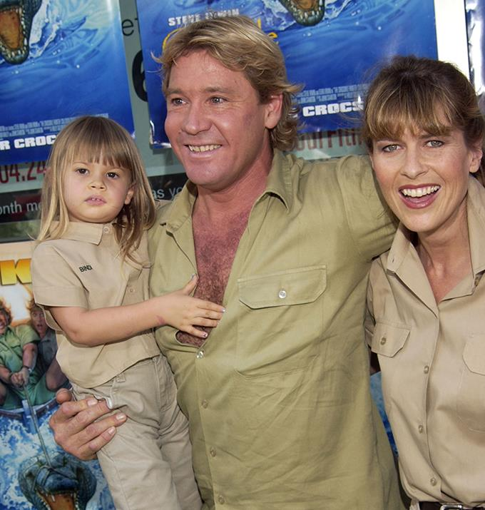 Steve, pictured at a movie premiere with his daughter Bindi and wife Terri, lived an incredible life which would easily lend itself to a movie.