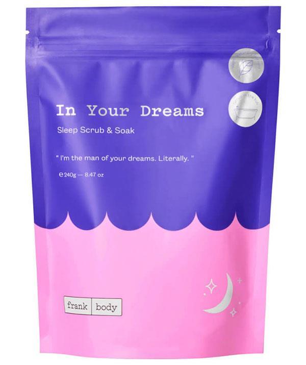 "Frank Body In Your Dreams Sleep Scrub and Soak, $18.95, [shop it here](https://www.frankbody.com/au/products/in-your-dreams-sleep-scrub-soak/|target=""_blank"")"