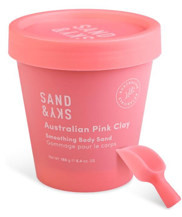 "Sand & Sky Australian Pink Clay Smoothing Body Sand, $49.90, [shop it here](https://au.sandandsky.com/products/australian-pink-clay-smoothing-body-sand-scrub?force=true&gclid=Cj0KCQjwsqmEBhDiARIsANV8H3aCy8-cCIC7XigR0G3iWMu0L4dw5TWSjK6T8dP_DLA8kxwEedY5YD4aAl9PEALw_wcB|target=""_blank"")"