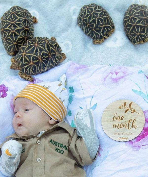 """To celebrate one month, our beautiful Grace Warrior received her first khakis and met the star tortoises here at Australia Zoo. We're so proud of our Wildlife Warrior princess. I know our darling girl is going to grow up caring for Mother Earth and all her animals,"" Bindi explained."