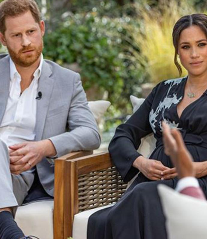 Harry and Meghan during their explosive tell-all with Oprah.