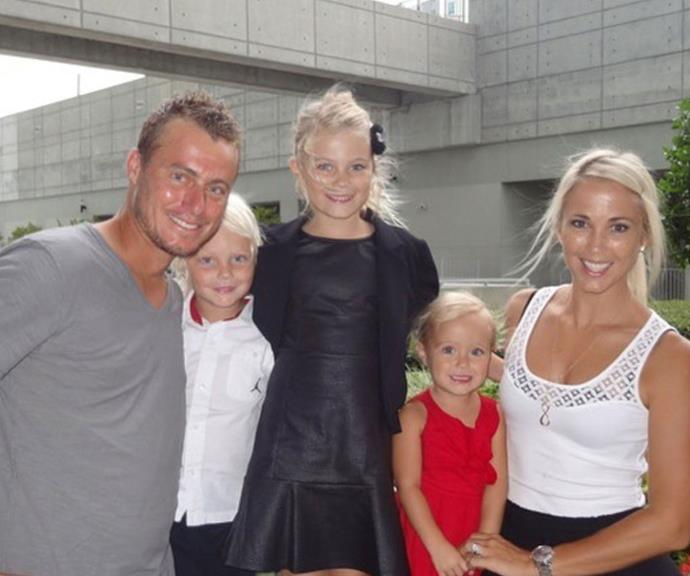 """Retired tennis champ made sure wife Bec Hewitt was feeling the love, uploading this adorable throwback with their three kids and writing: """"Happy Mother's Day to this amazing mum @bechewitt23 We love you so much! 💞😍 #TheBest 😘."""""""