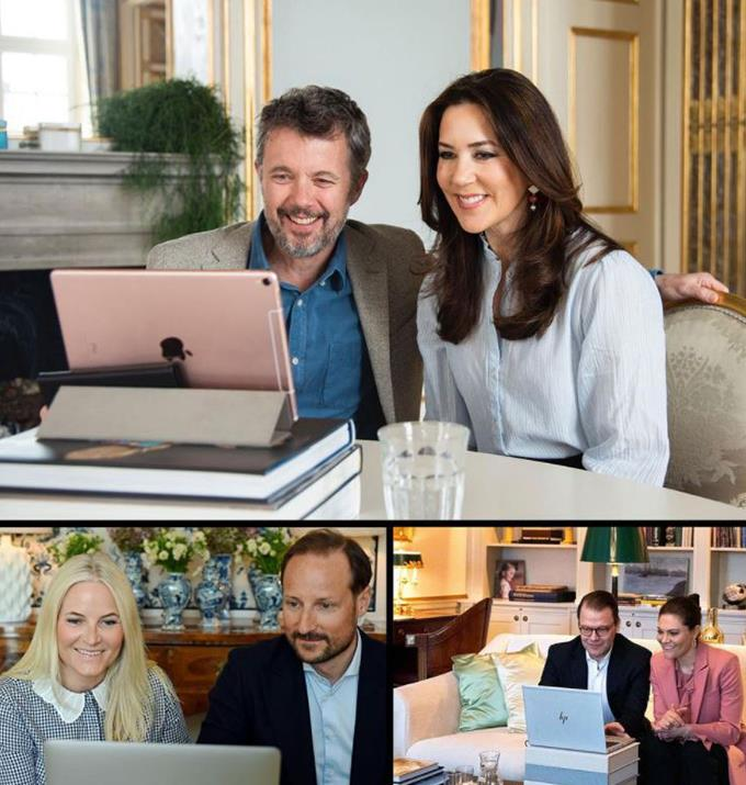 The Danish royal Palace shared this image of Crown Princess Mary and Crown Prince Frederik talking to Crown Princess Victoria of Sweden with her husband Prince Daniel, alongside Crown Prince Haakon and his wife Mette-Marit, Crown Princess of Norway. During the Covid safe zoom they discussed family life.