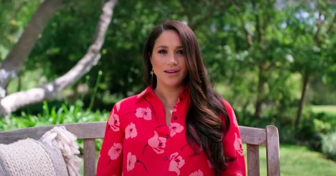 Meghan looked beautiful in a bright Poppy print dress.