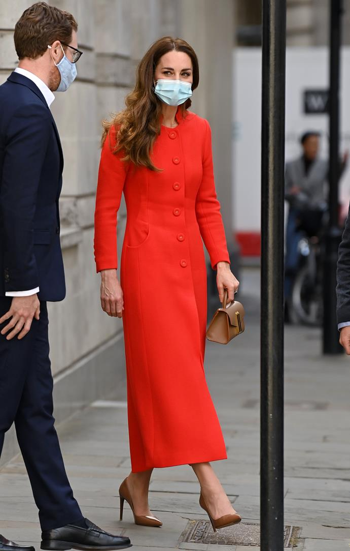 Duchess Catherine also rocked the red trend this week.
