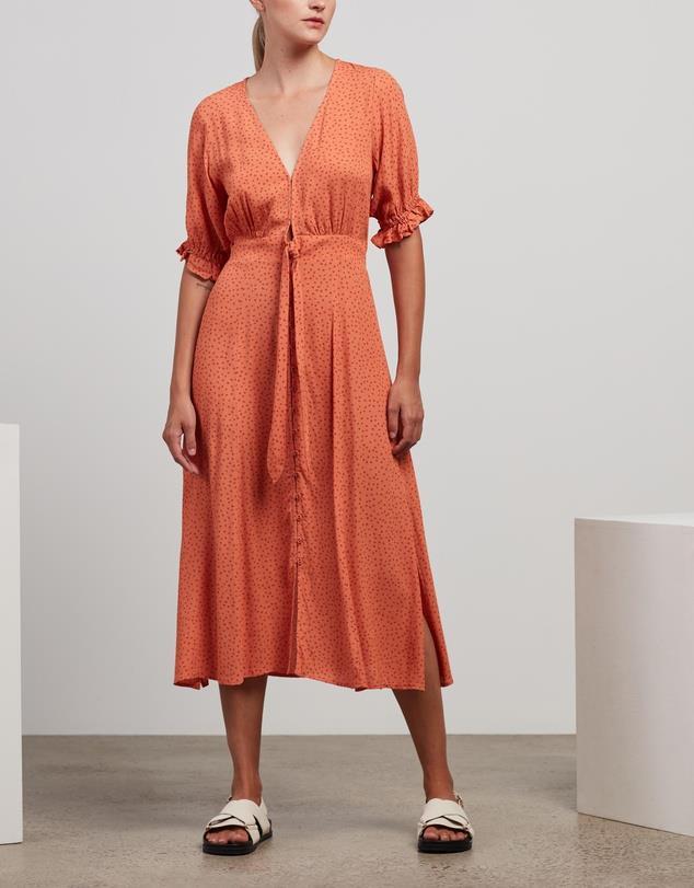 "Kivari Milana Polka Tie Front Midi Dress, $195. **[Buy it online here](https://www.theiconic.com.au/milana-polka-tie-front-midi-dress-1239226.html target=""_blank"" rel=""nofollow"")**"