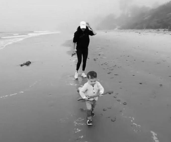 In an abeit brief glimpse aired during her Oprah interview, Meghan, who was presumably pregnant at the time, is seen running down the beach with baby Archie in her casual gear - a black hoodie and leggings. Comfort wins!