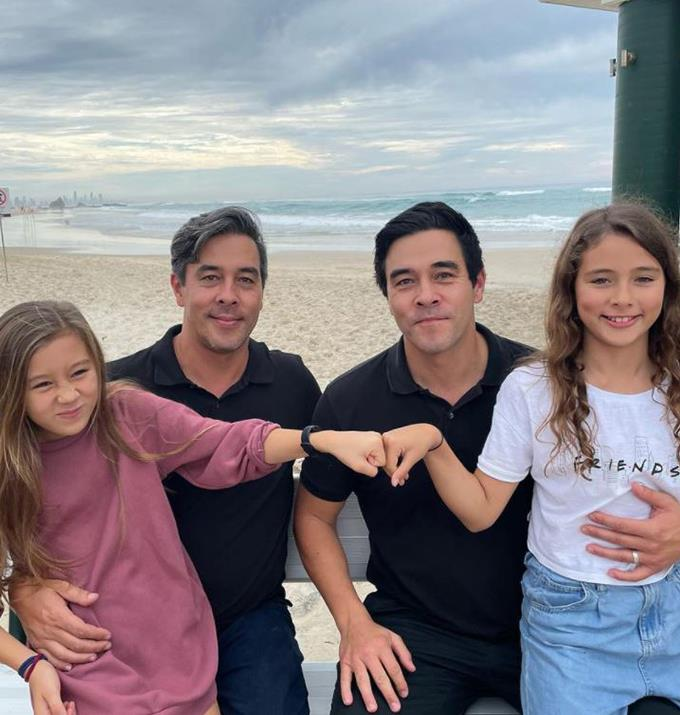 """James' twin Nick posted this adorable picture with their daughter's Scout and Grace with the caption, """"Cheeky monkeys 🐒 I asked for a serious photo 🤦🏽♂️🤣."""""""