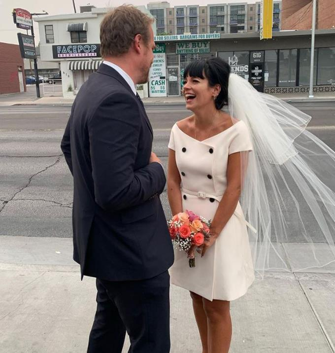 **Lily Allen** <br><br> Lily was a Covid bride for her Las Vegas wedding to *Stranger Things* actor David Harbour. The unique ceremony called for a nontraditional dress, and Lily opted for a vintage sixties-style light pink Dior dress.
