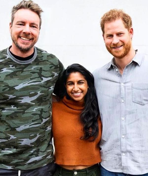 Podcast hosts Dax Shepard and Monica Padman with Prince Harry.