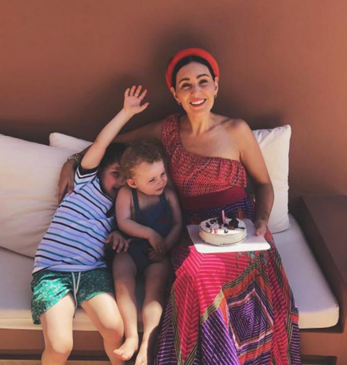 Zoë celebrating her birthday with her son, Sonny and daughter, Rudy.