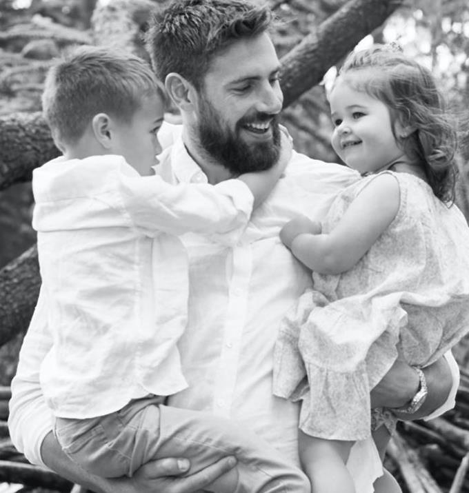 Megan's partner Shaun with their children.