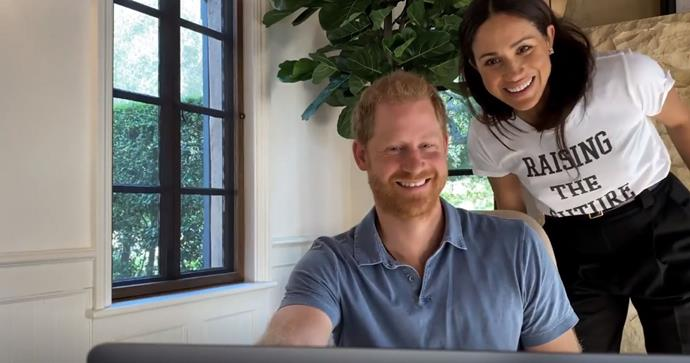 Harry and Meghan smile for a webcam selfie in the new documentary series.