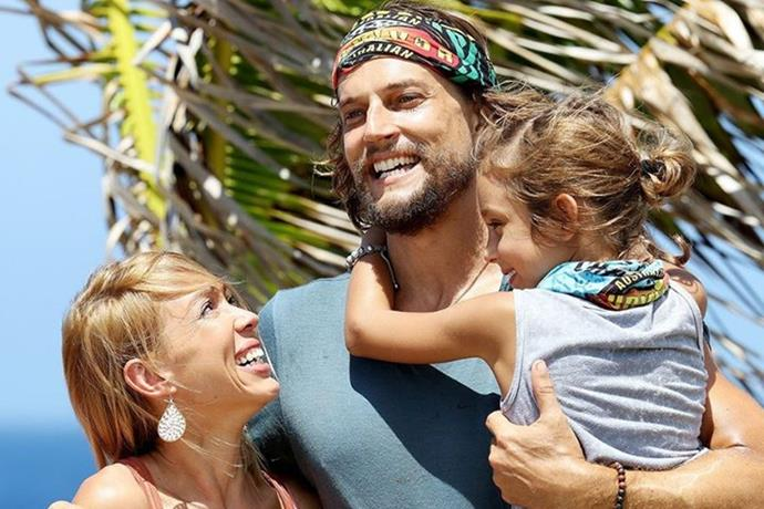 Pearl (pictured with David and daughter Rei on *Survivor*) suffers from Lupus.