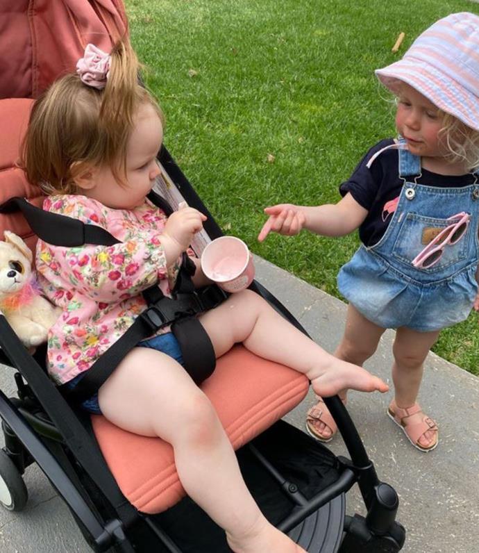 Trixie and Daisy enjoying ice cream.