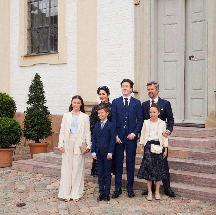 """Gang's all here! The Danish royals [dressed in their glad rags](https://www.nowtolove.com.au/fashion/fashion-news/princess-mary-daughter-isabella-67726