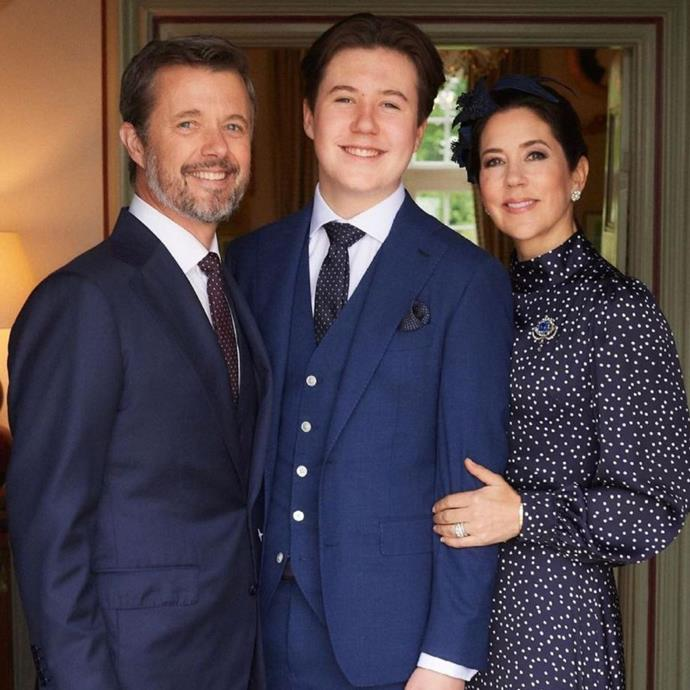 Mary was as proud as a mum could be for her teenage son as she and Frederik joined him in a beaming photo on the special day.