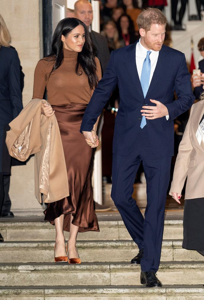 """**January 2020: Meghan and Harry step back** <br><br> In an announcement that stopped virtually every royal watcher and their dog in their tracks, Meghan and Harry [revealed they would be stepping back](https://www.nowtolove.com.au/royals/british-royal-family/meghan-markle-feud-53096