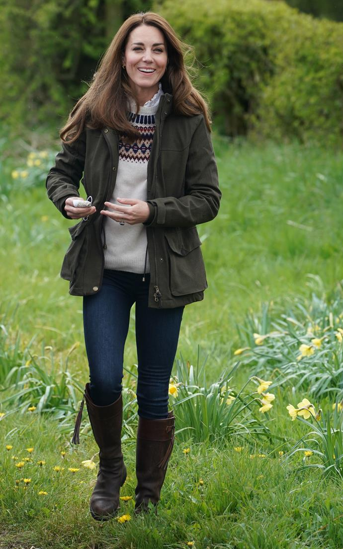 """Honestly, there are way too many pictures of her Chilvers boots to choose from - though [this particular ensemble](https://www.nowtolove.com.au/royals/british-royal-family/prince-william-duchess-catherine-anniversary-video-67549