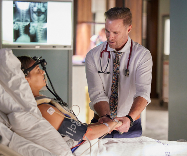 Dr Christian finds a renewed sense of purpose in helping the stricken Rachel.