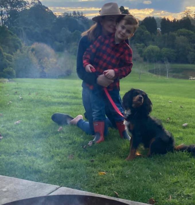 Enjoying nature together while walking the dog.