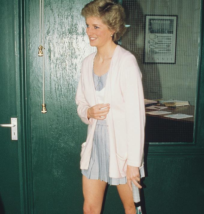 Diana opened the Women's International Tennis Association European Office in 1988, and her tennis dress and cardigan were a cute pastel choice.