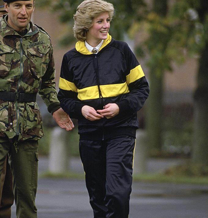 Diana wore this look during a trip to West Berlin, and the tracksuit is something any arty indie kid in Berlin would wear today.