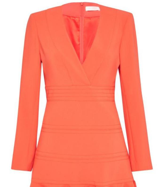 """The mini dress is perfect for a trip to wineries, and if styled correctly, it can work for corporate functions. You can find this $320 creation [online here.](https://www.sassandbide.com/higher-degree-dress-melon