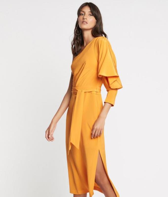 This asymmetrical dress is easy on the eyes, and it now retails at the reduced price of $390. It is perfect for events and work, and it can be found online here.