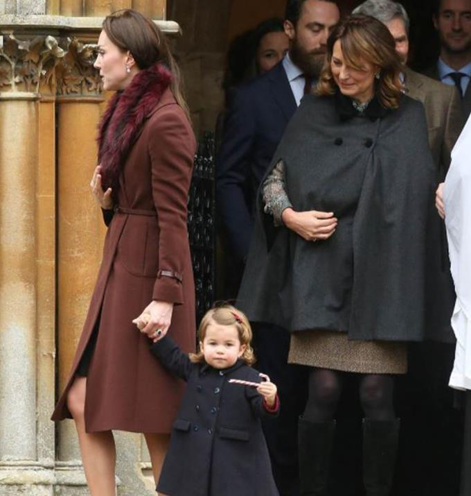 Kate leaving a church with Charlotte and her mother, Carole.