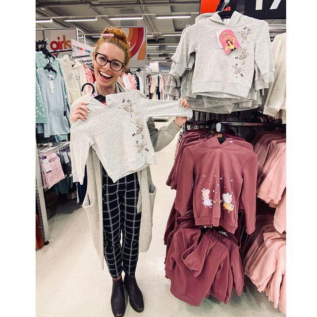 Emma showed off her cute kids hoodie design in Kmart.