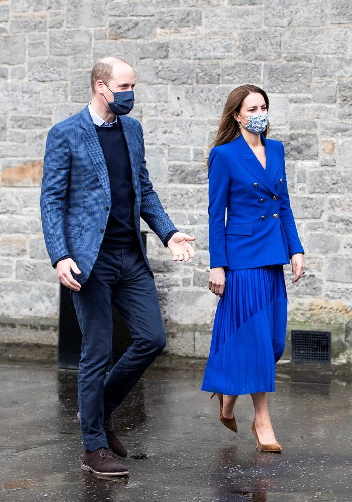 On her first day of the tour, Kate went high street with a beautiful royal blue Zara blazer paired with a pleated skirt by British label, Hope. Another one for our mood boards...