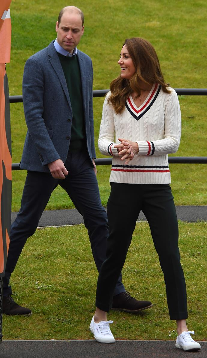 Earlier in the day, the Duke and Duchess visited the Lawn Tennis Association in Edinburgh. Kate looked precisely the part in a white cable knit jumper and her old favourite Superga sneakers.