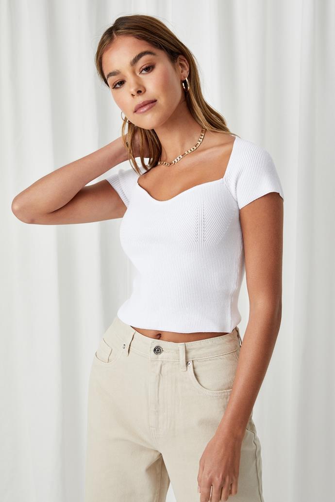 "Supre Hadley Sweetheart Neck Top, $18.75 (on sale). **[Buy it online here](https://cottonon.com/AU/hadley-sweetheart-neck-top/9357482856641.html|target=""_blank""|rel=""nofollow"")**"