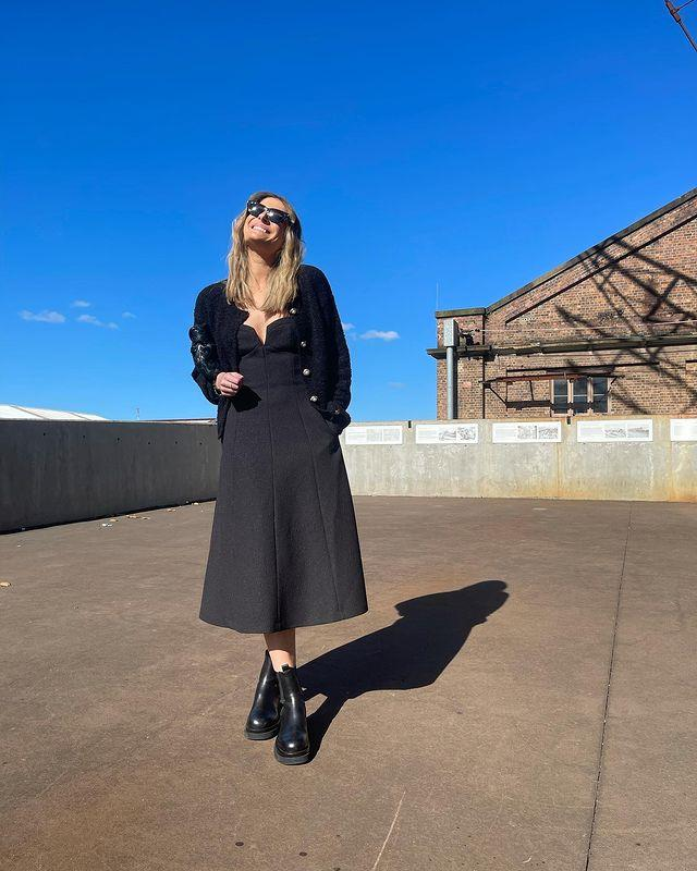 Model Rebecca Harding, who celebrated her partner Andy Lee's 40th over the weekend, was also spotted looking chic in Rebecca Vallance. Black is forever the new black in our books.