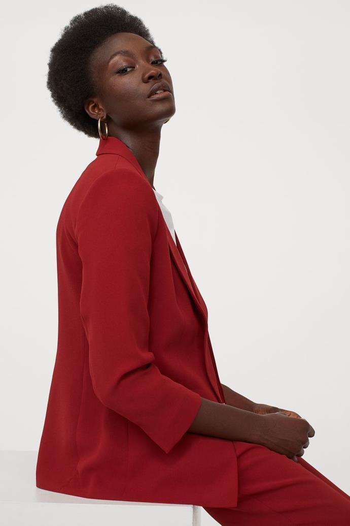 "H&M Straight Cut Jacket, $39.99. **[Buy it online here](https://www2.hm.com/en_au/productpage.0728156019.html|target=""_blank""|rel=""nofollow"")**"