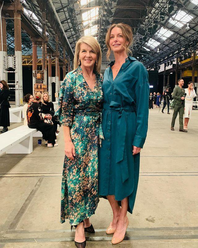 Julie Bishop opted for a splash of colour on day two, rocking a green printed wrap dress as she attended Ginger & Smart's fashion show.