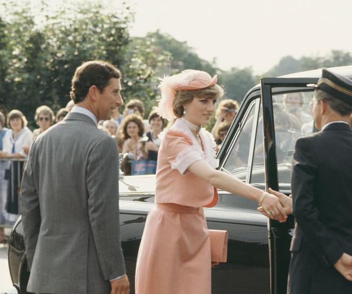 Nothing like a wedding day outfit change: Princess Diana and Prince Charles at Romsey Station in Hampshire at the end of their wedding day in July 1981.