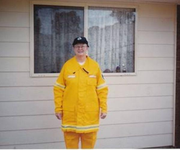 Mum as a volunteer for the Rural Fire Service.