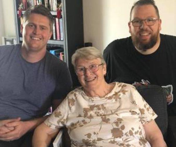 Philip (left), Mum and me.