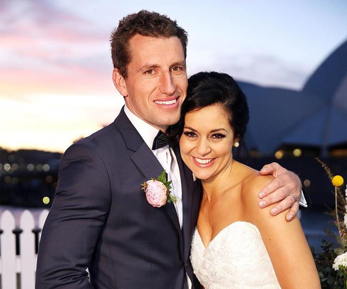 Season two MAFS stars Mark and Christie Jordee pose together on their wedding day.