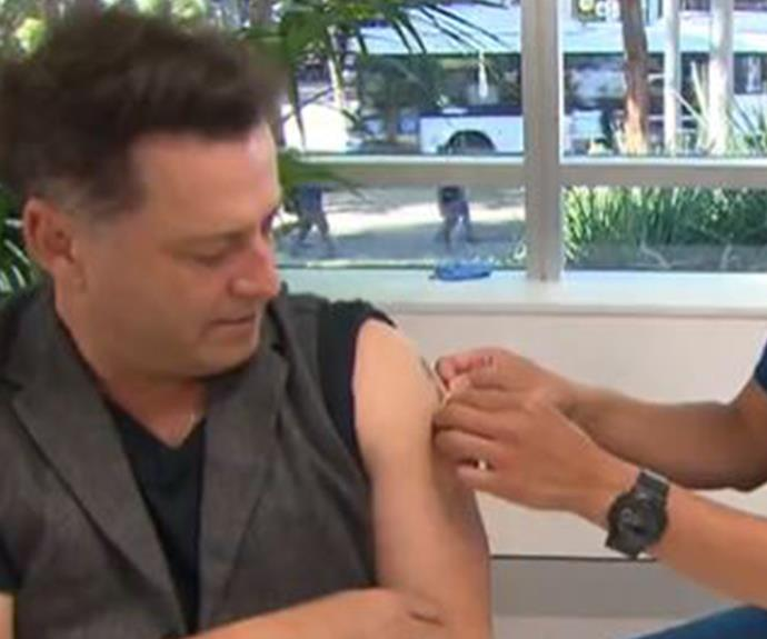 """**Karl Stefanovic** <br><br> The *Today* show host got his vaccination on air at the mass vaccination hub at Olympic Park in Sydney.  <br><br> Of course, Karl, 46, couldn't help but make a self-deprecating joke when a healthcare worker asked him what age group he fell into. <br><br> """"Yes. The lower end of that, of course,"""" he laughed """"Did it hurt your hands touching the guns?"""""""