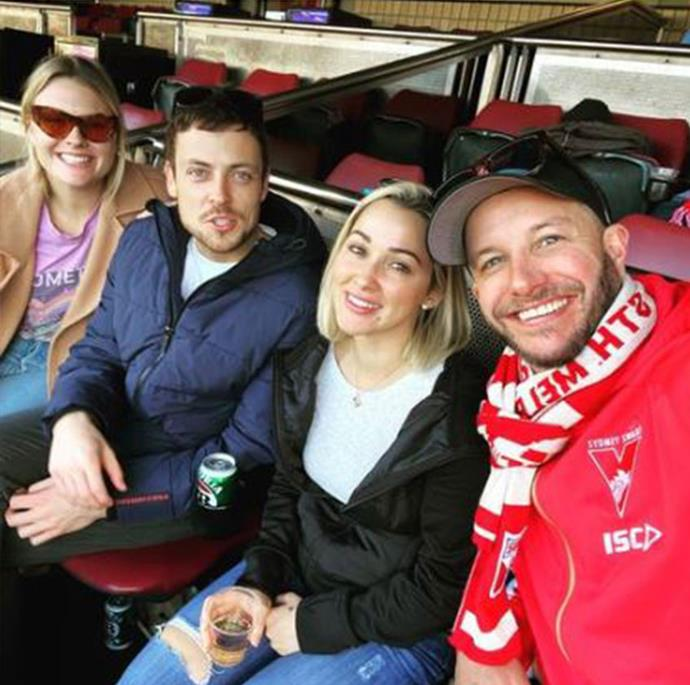 """The ultimate double date! Former *Home And Away* star Luke Jacobz and his fiancee Raychel Stuart recently teamed up with current *Home And Away* stars and real-life couple Paddy O'Connor and Sophie Dillman to watch a Swans AFL game together.  <br><br> """"What a group to watch with,"""" Luke shared."""