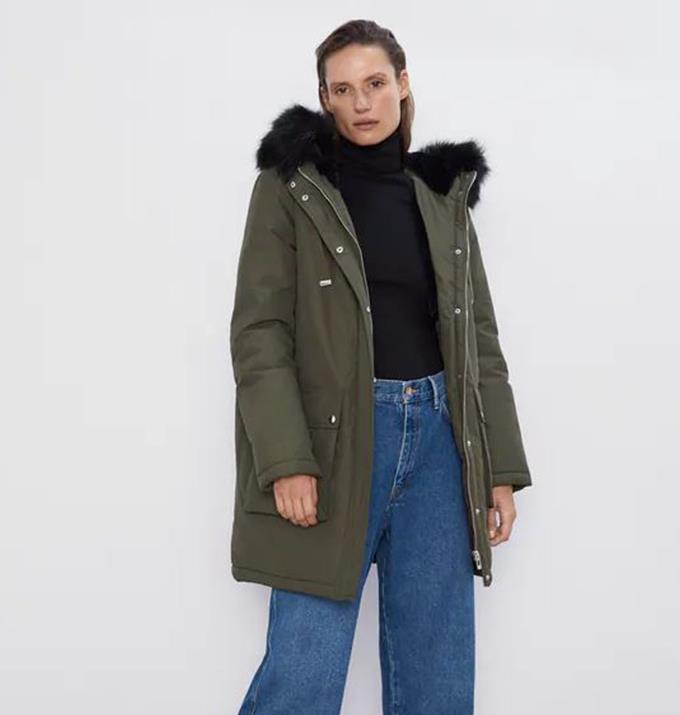 "Padded Parka With Hood, $189.00 from [Zara.](https://www.zara.com/au/en/padded-parka-with-hood-p03046227.html?v1=82075578&v2=1722165|target=""_blank"")"
