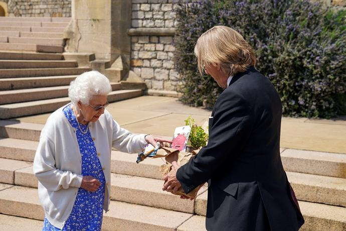 The Queen received the beautiful gift from the Royal Horticultural Society.