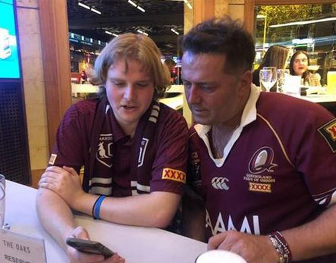 Nothing beats a father-son bonding moment and on Wednesday night, Karl and his oldest son Jackson headed to the pub to watch the State of Origin together.