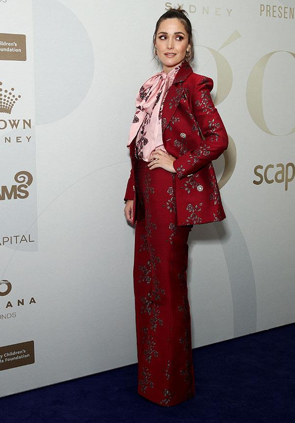 Actress Rose Byrne suited up in this floral red ensemble.